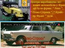 """Центри виробництва лег-кових автомобілів у Фран-ції були фірми: """" Рено """", """" П..."""