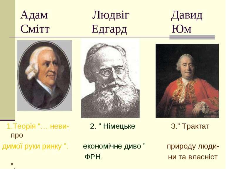 """Адам Людвіг Давид Смітт Едгард Юм 1.Теорія """"… неви- 2. """" Німецьке 3."""" Трактат..."""