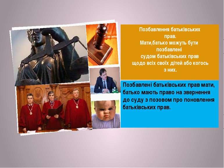 Позбавлення батьківських прав. Мати,батько можуть бути позбавлені судом батьк...