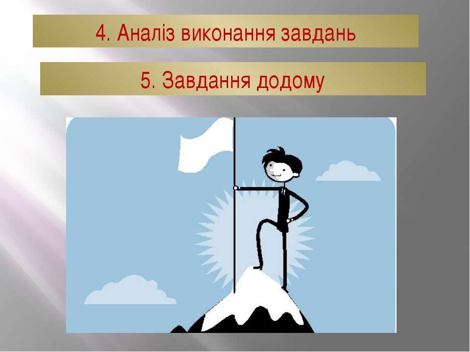 4. Аналіз виконання завдань 5. Завдання додому