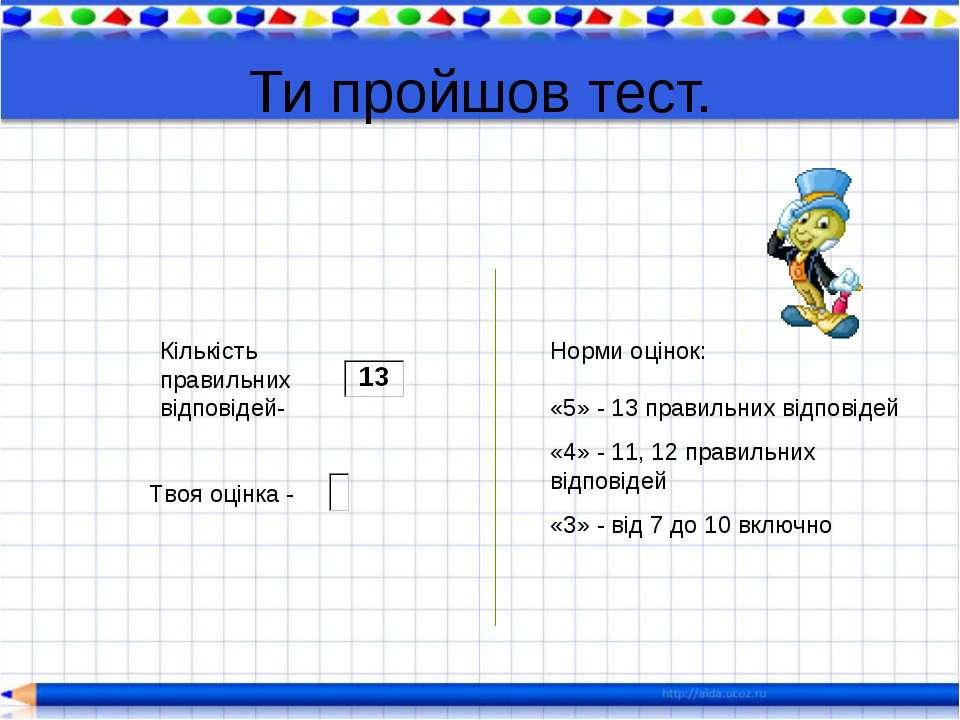 Ти пройшов тест. Твоя оцінка - Норми оцінок: «5» - 13 правильних відповідей «...