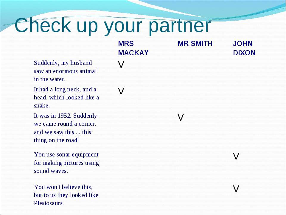 Check up your partner MRS MACKAY MR SMITH JOHN DIXON Suddenly, my husband saw...