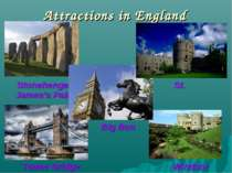 Attractions in England Stonehenge St. James's Palace Tower Bridge Windsor Cas...