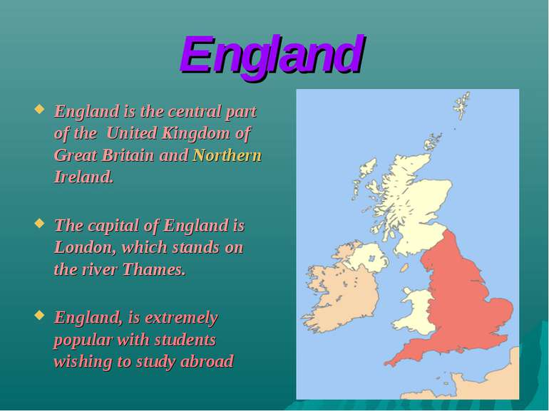 England England is the central part of the United Kingdom of Great Britain an...