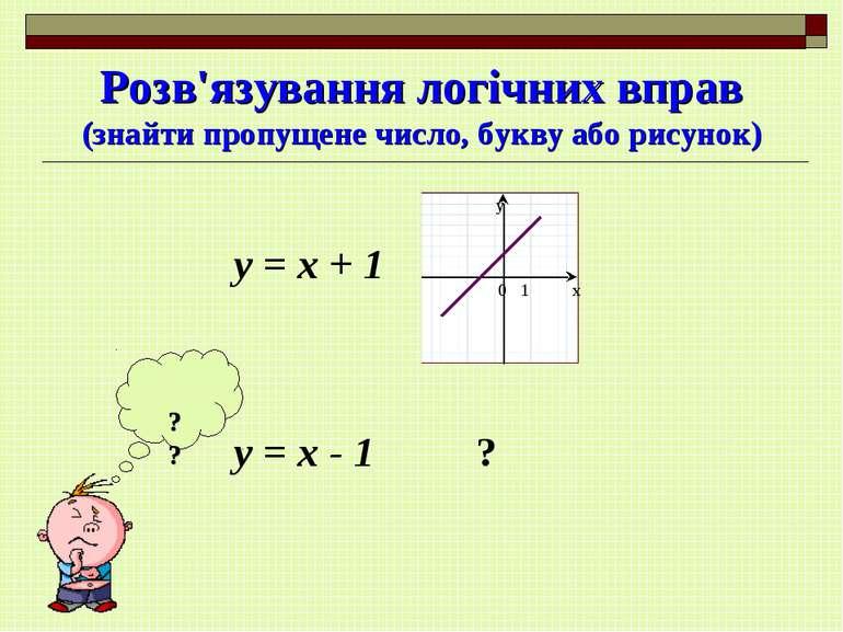 Розв'язування логічних вправ (знайти пропущене число, букву або рисунок) ? ? ...