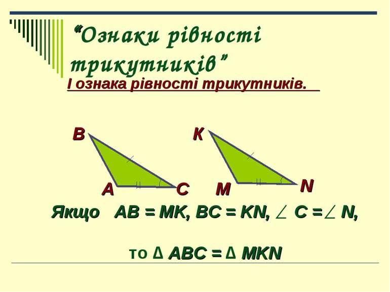"""Ознаки рівності трикутників"" І ознака рівності трикутників. А В С К М N Якщо..."