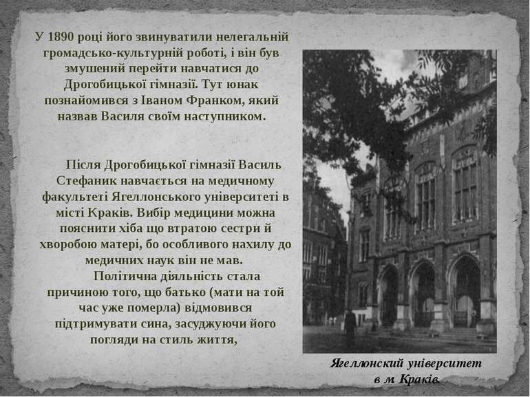 Після Дрогобицької гімназії Василь Стефаник навчається на медичному факультет...