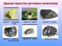 Зразки простих речовин неметалів Зразок 7 – саморідна Зразок 8 – алмаз. Зразо...