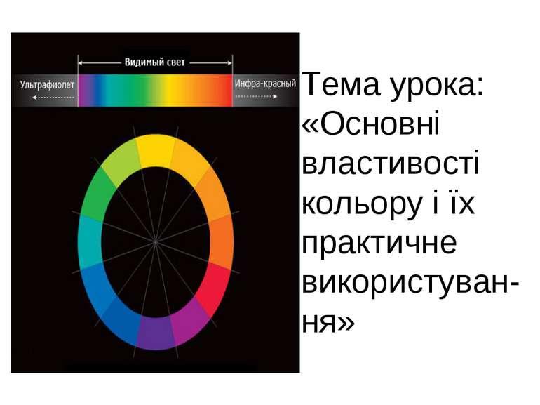 Тема урока: «Основні властивості кольору і їх практичне використуван-ня»