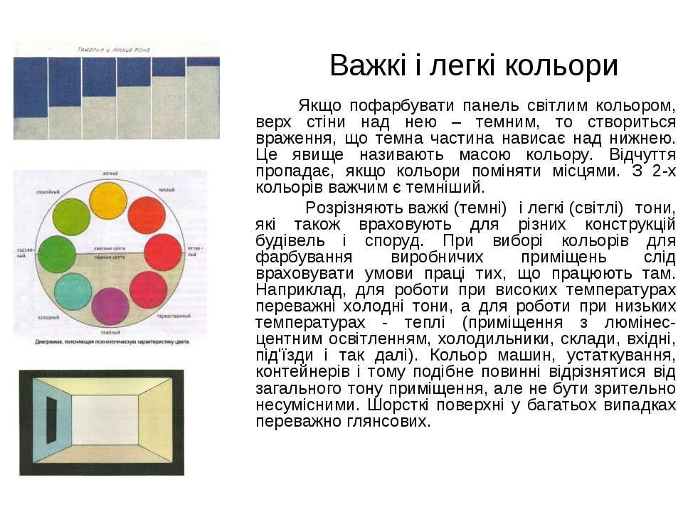 Важкі і легкі кольори Якщо пофарбувати панель світлим кольором, верх стіни на...