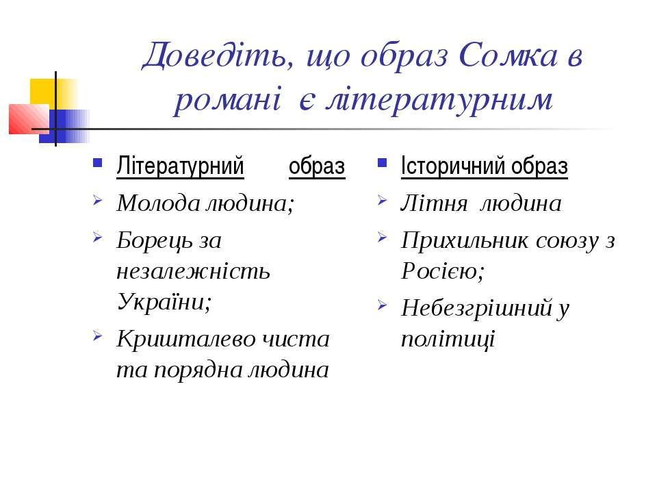 Доведіть, що образ Сомка в романі є літературним Літературний образ Молода лю...