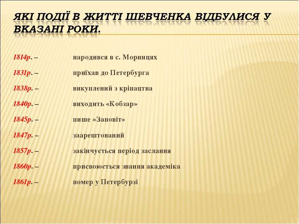 1814р. – народився в с. Моринцях 1831р. – приїхав до Петербурга 1838р. – вику...