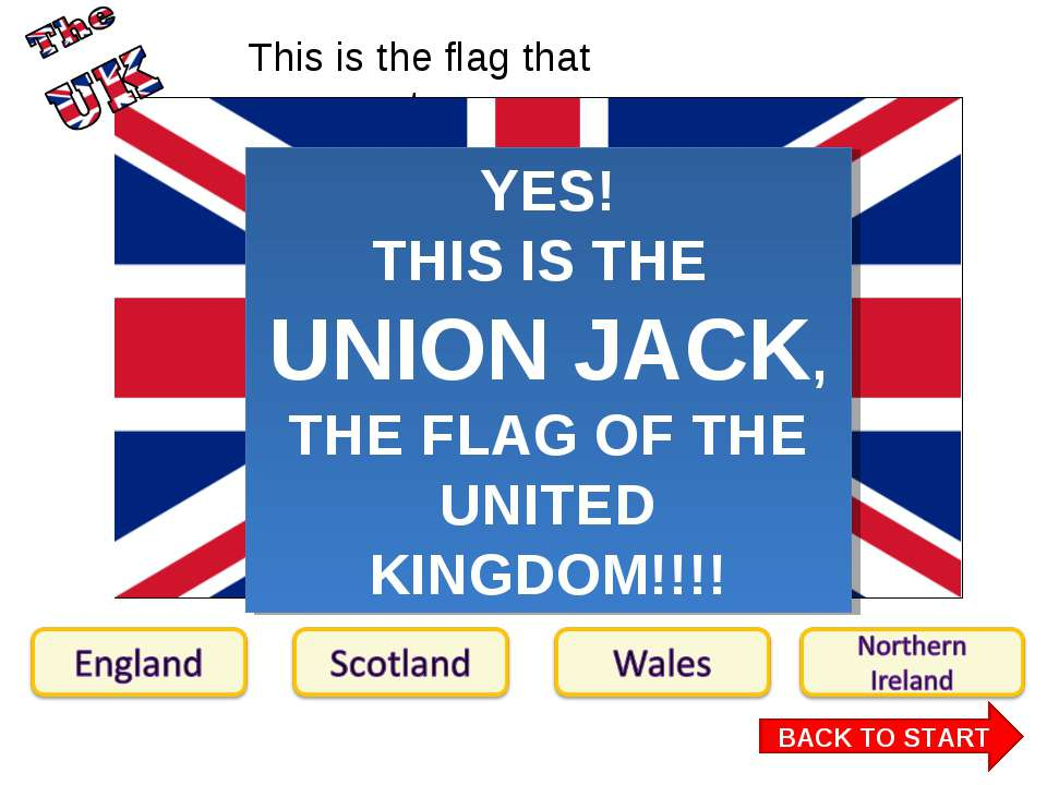 This is the flag that represents… : BACK TO START YES! THIS IS THE UNION JACK...