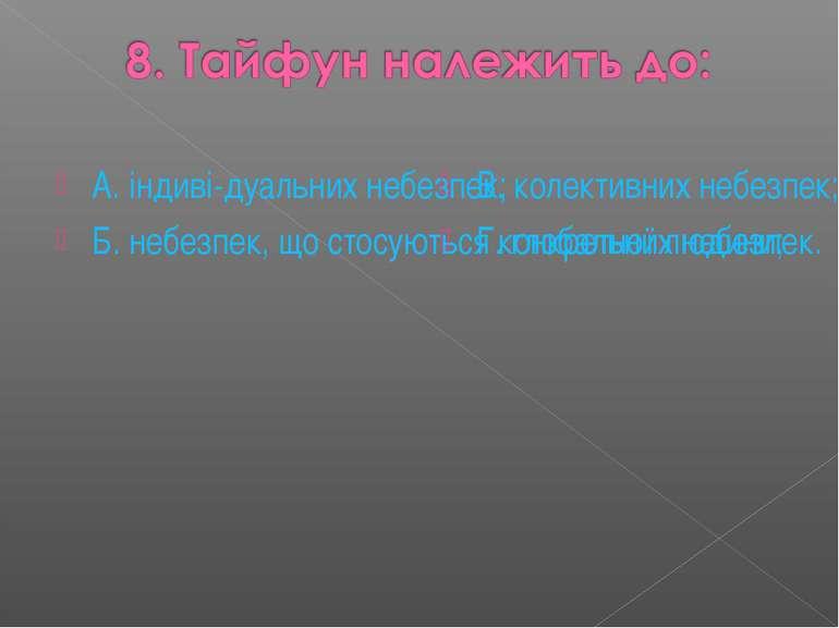 А. індиві-дуальних небезпек; Б. небезпек, що стосуються конкретної людини; В....