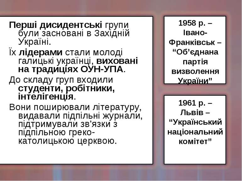 Перші дисидентські групи були засновані в Західній Україні. Їх лідерами стали...
