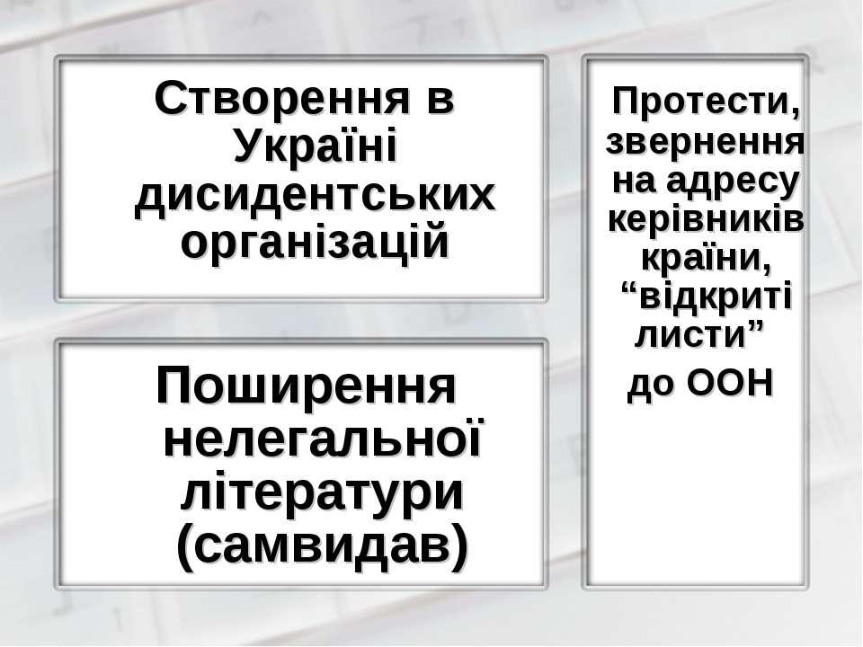 Створення в Україні дисидентських організацій Поширення нелегальної літератур...