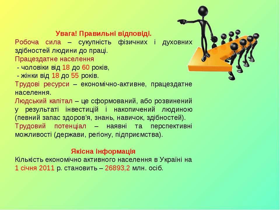 Увага! Правильні відповіді. Робоча сила – сукупність фізичних і духовних здіб...