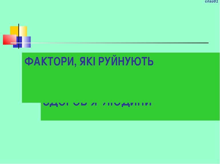 ЗДОРОВЬЕ ЧЕЛОВЕКА слайд1 ЗДОРОВ'Я ЛЮДИНИ ФАКТОРИ, ЯКІ РУЙНУЮТЬ