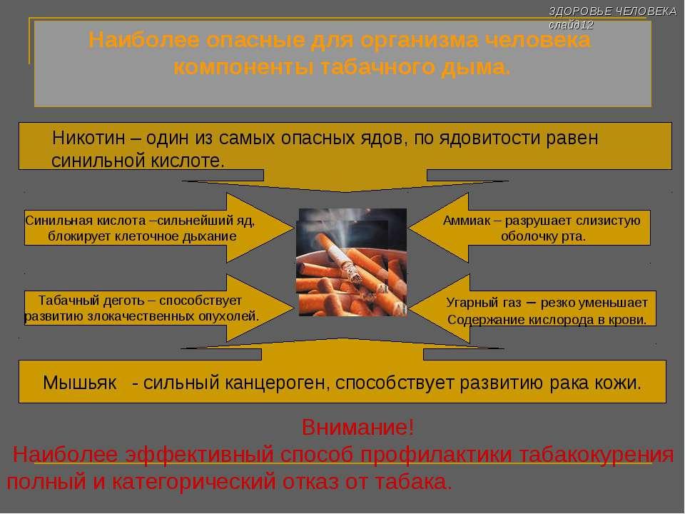 Наиболее опасные для организма человека компоненты табачного дыма. Никотин – ...