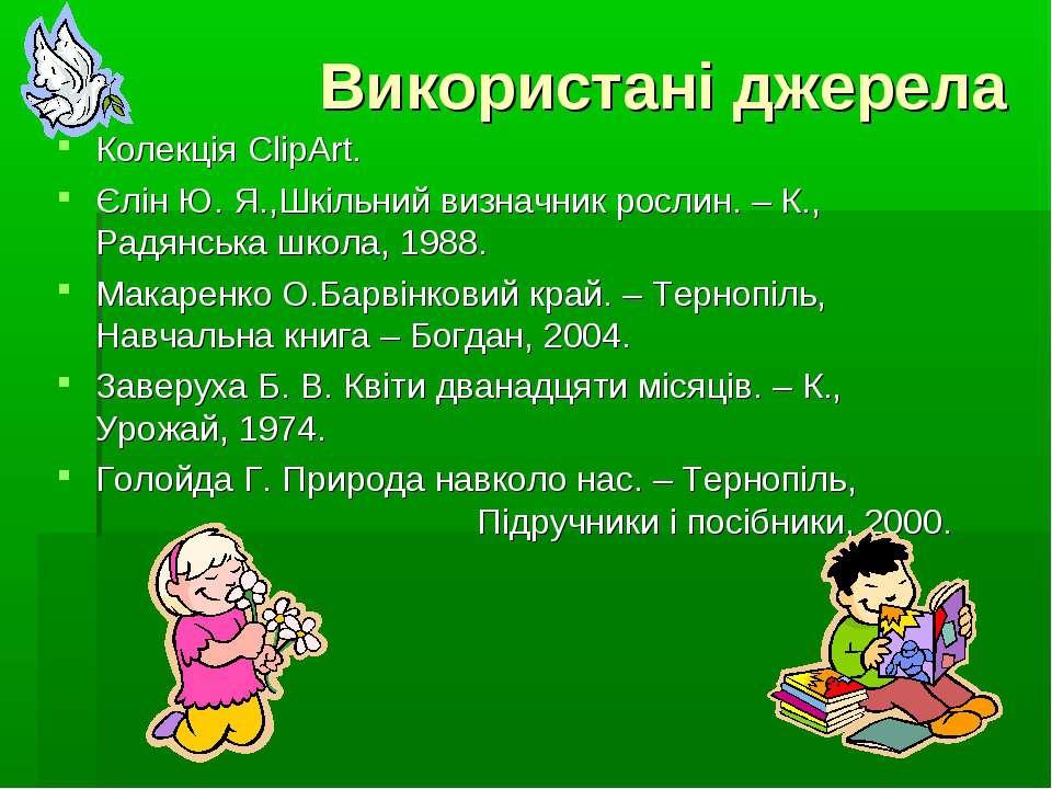 Використані джерела Колекція ClipArt. Єлін Ю. Я.,Шкільний визначник рослин. –...