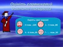 Оцініть словниковий диктант товариша Оцініть свої знання! - 0 пом. ,12б 1 - 3...