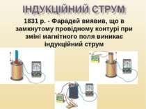 1831 р. - Фарадей виявив, що в замкнутому провідному контурі при зміні магніт...