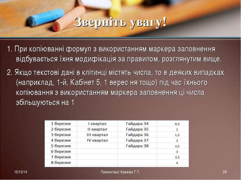 1. При копіюванні формул з використанням маркера заповнення відбувається їхня...