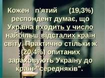 Кожен п'ятий (19,3%) респондент думає, що Україна входить у число найбільш ві...