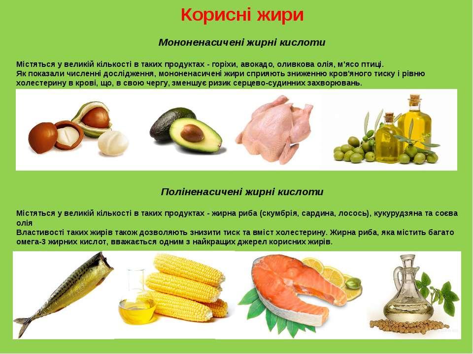 Корисні жири Мононенасичені жирні кислоти Містяться у великій кількості в так...