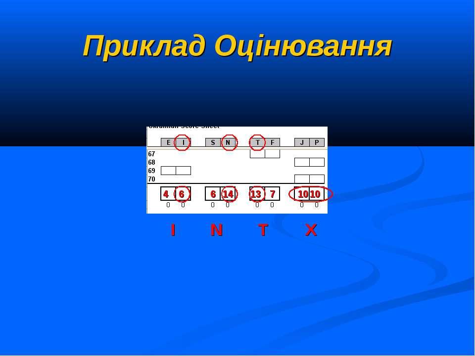 Приклад Оцінювання X 6 4 6 14 13 7 10 10 T N I