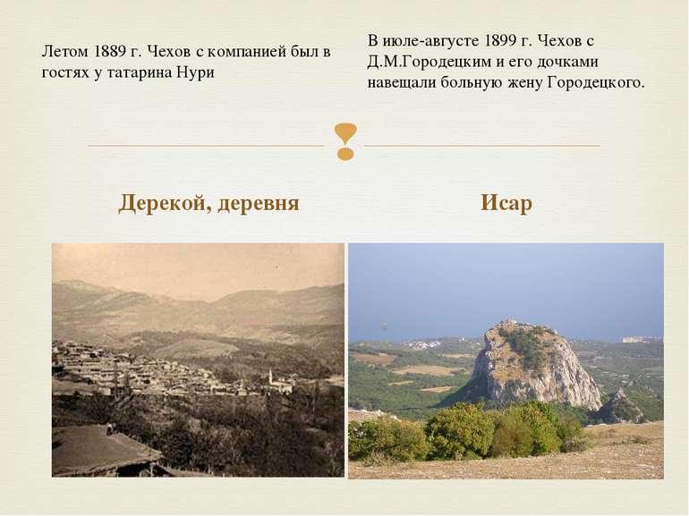 Дерекой, деревня Исар Летом 1889 г. Чехов с компанией был в гостях у татарина...