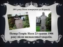 1891 року Ібсен повернувся до Норвегії. Помер Генрік Ібсен 23 травня 1906 рок...
