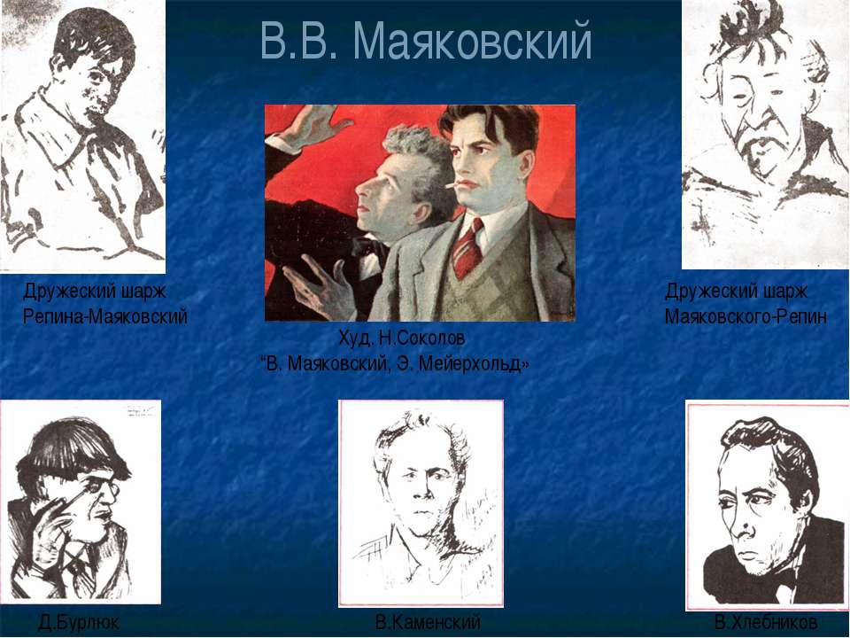 """В.В. Маяковский Худ. Н.Соколов """"В. Маяковский, Э. Мейерхольд» Дружеский шарж ..."""