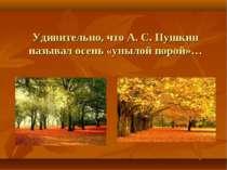 Дивно, що А. С. Пушкін називав осінь «сумною порою»...
