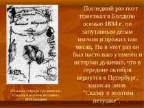 Останній раз поет приїздив у Болдіно восени 1834 р. по заплутаних справах має...