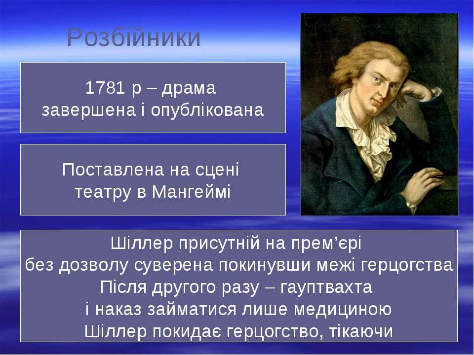 Розбійники 1781 р – драма завершена і опублікована Поставлена на сцені театру...
