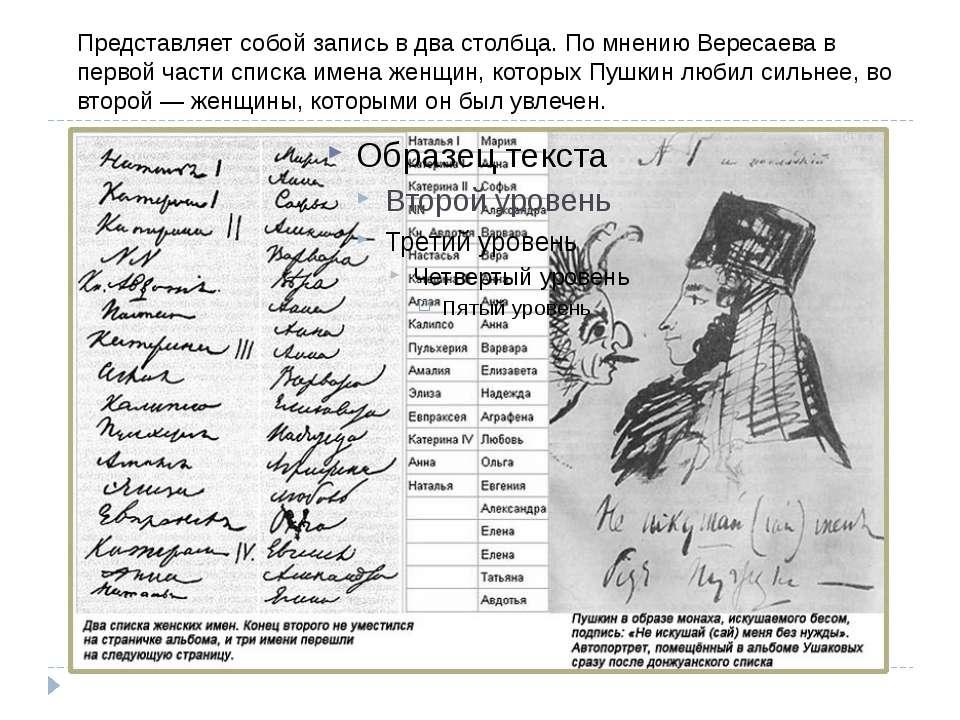 Являє собою запис у два стовпці. На думку Вересаєва в першій частині списку і...