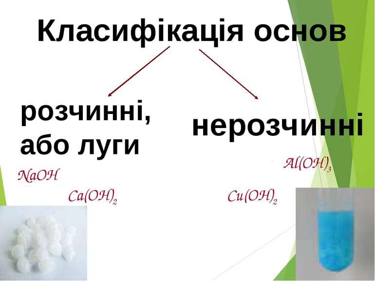 Класифікація основ розчинні, або луги нерозчинні NaOH Ca(OH)2 Al(OH)3 Сu(OH)2