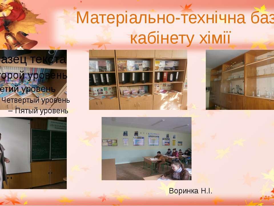 Матеріально-технічна база кабінету хімії Воринка Н.І.