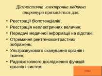 Діагностична електронна медична апаратура призанається для: Реєстрації біопот...