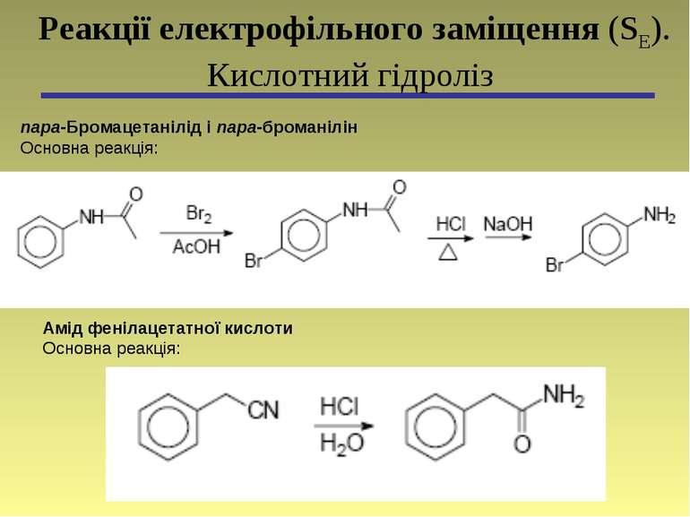 пара-Бромацетанілід і пара-броманілін Основна реакція: Реакції електрофільног...