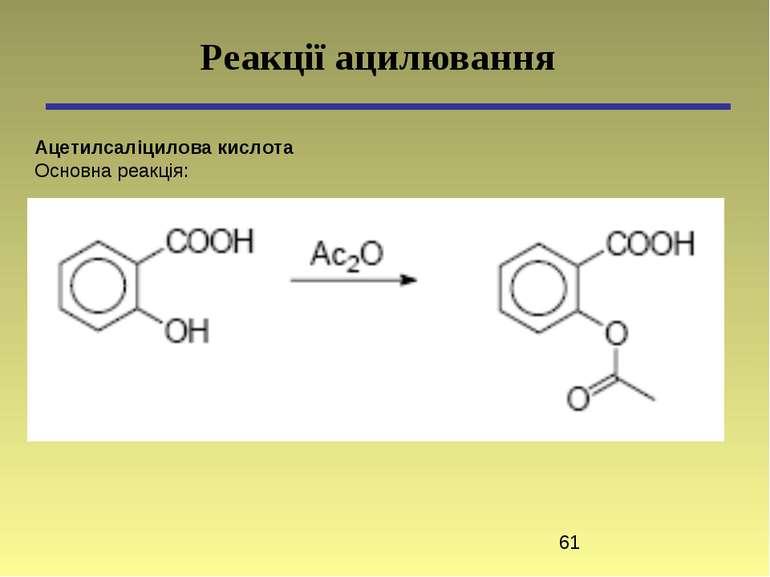Ацетилсаліцилова кислота Основна реакція: Реакції ацилювання