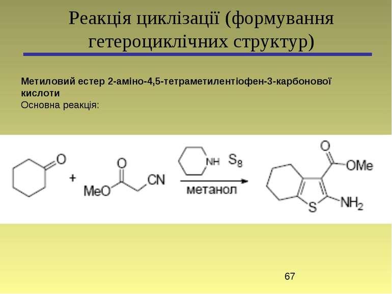 Реакція циклізації (формування гетероциклічних структур) Метиловий естер 2-ам...