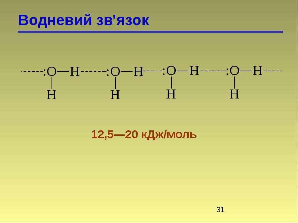 Водневий зв'язок 12,5—20 кДж/моль