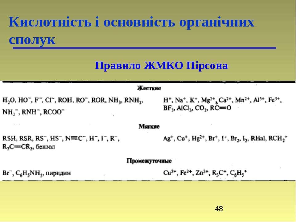 Кислотність і основність органічних сполук Правило ЖМКО Пірсона