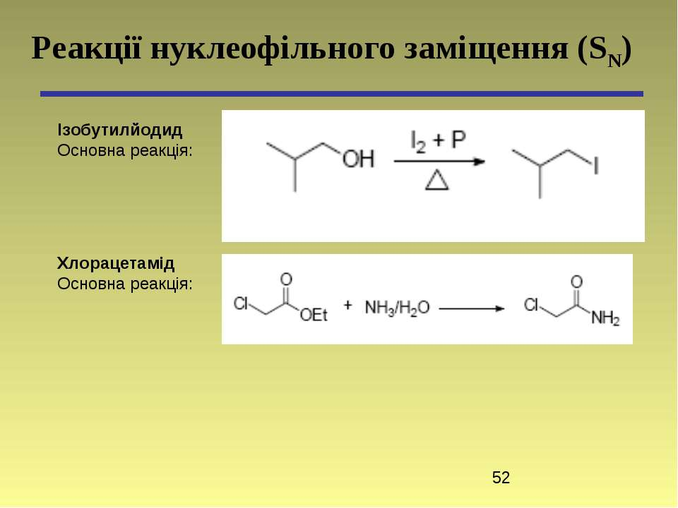 Реакції нуклеофільного заміщення (SN) Ізобутилйодид Основна реакція: Хлорацет...