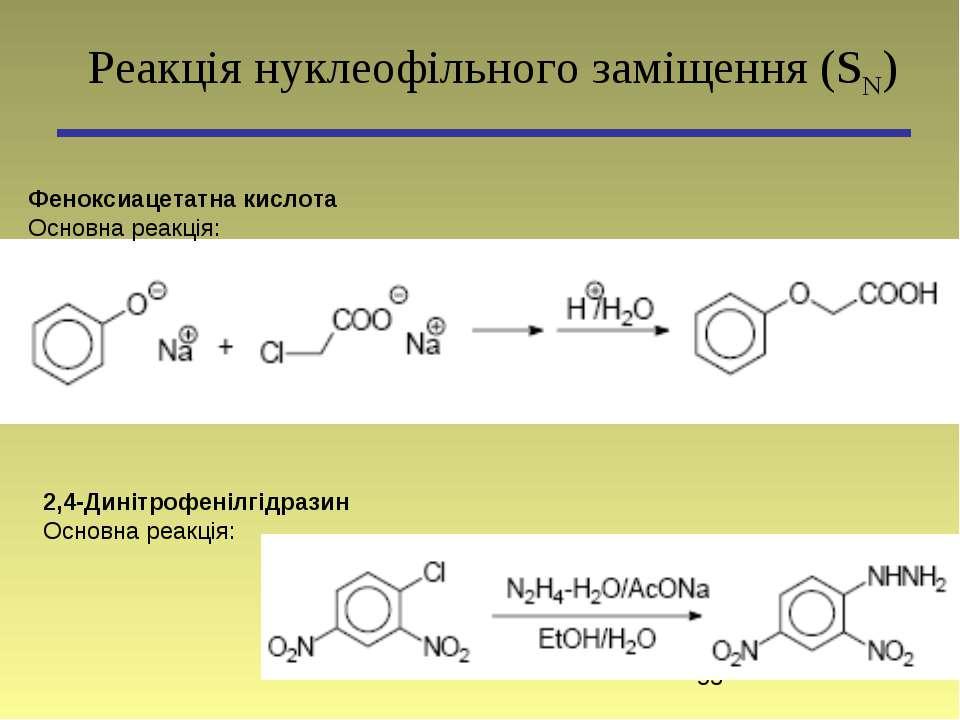 Феноксиацетатна кислота Основна реакція: Реакція нуклеофільного заміщення (SN...