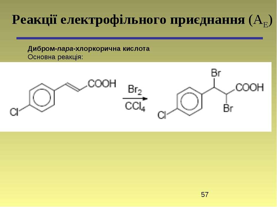 Дибром-пара-хлоркорична кислота Основна реакція: Реакції електрофільного приє...