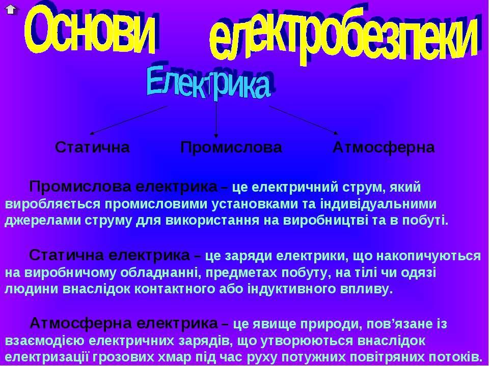 Статична Промислова Атмосферна Промислова електрика – це електричний струм, я...