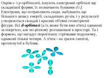 Окрім s- і p-орбіталей, існують електронні орбіталі ще складнішої форми; їх п...